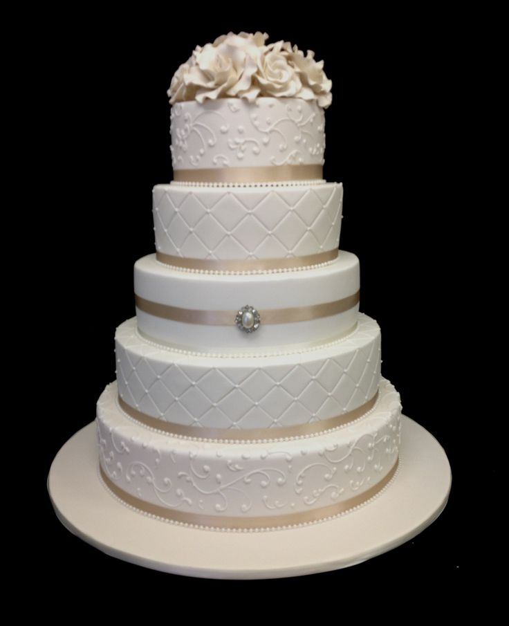 GOT A QUOTE*** $980 or $880 with the bottom replaced by a dummy cake.  This one is really nice, the goldish colour is elegant. We have the option to change the ribbons to pink though if we want to match our wedding theme