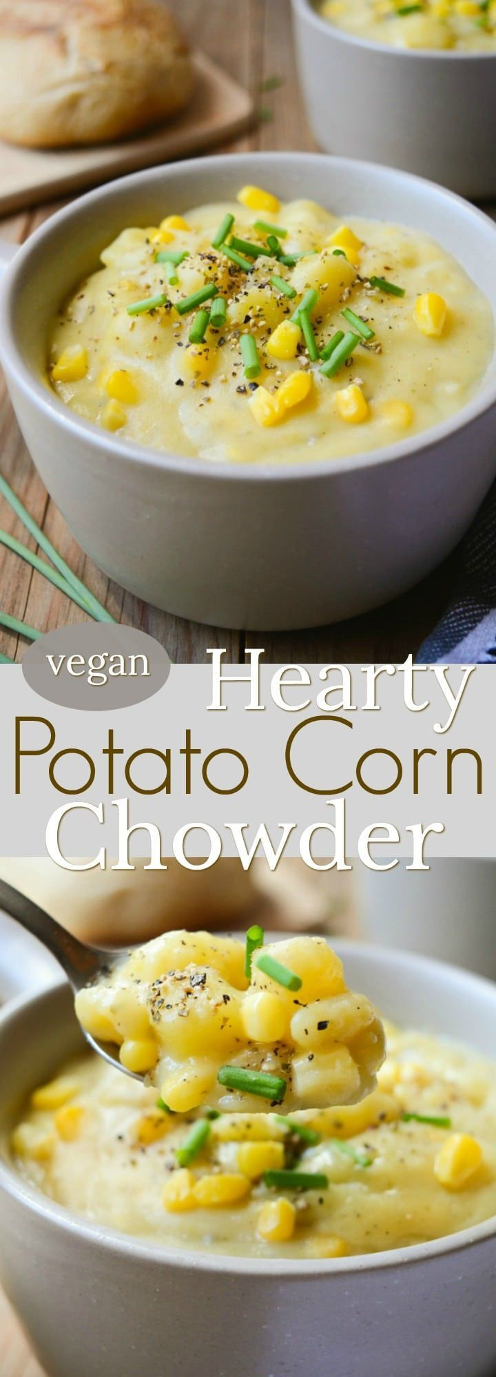 Vegan Potato Corn Chowder is a thick and hearty, dairy-free recipe.  It takes only one pot and a few simple ingredients you have in your kitchen.  This rich and chunky soup will keep you warm all winter long! #vegan #dairyfree #vegansoup #soup