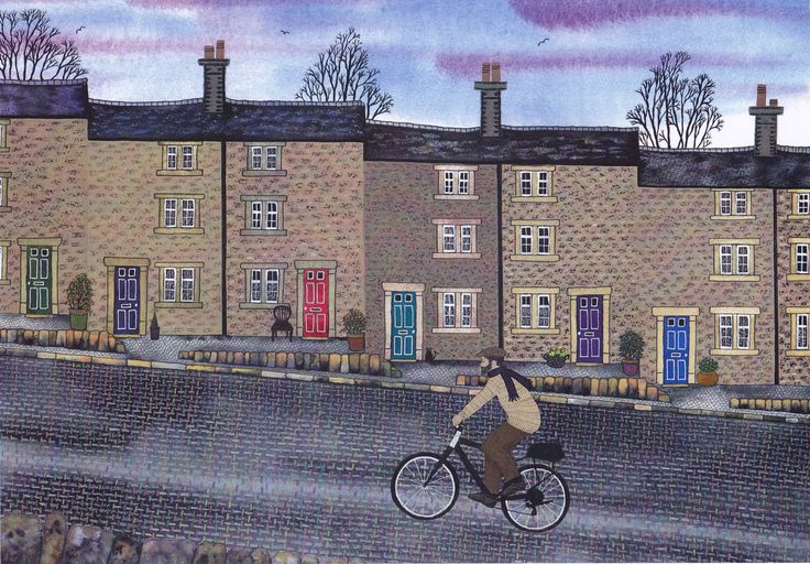 "Art Print: ""Weavers' Hill"" - A3 street print, wall art, weavers' cottages, bicycle print, cyclist, from an original painting by Liz Marsh by ElmGalleryArtPrints on Etsy https://www.etsy.com/listing/220762507/art-print-weavers-hill-a3-street-print"
