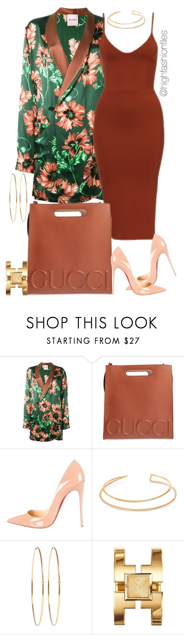 """Untitled #2743"" by highfashionfiles ❤ liked on Polyvore featuring Palm Angels, Gucci, Christian Louboutin, BERRICLE, Jennifer Meyer Jewelry and Tory Burch"