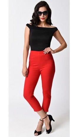 1950s Rockabilly Style Cherry Red High Waist Stretch Capri Pants