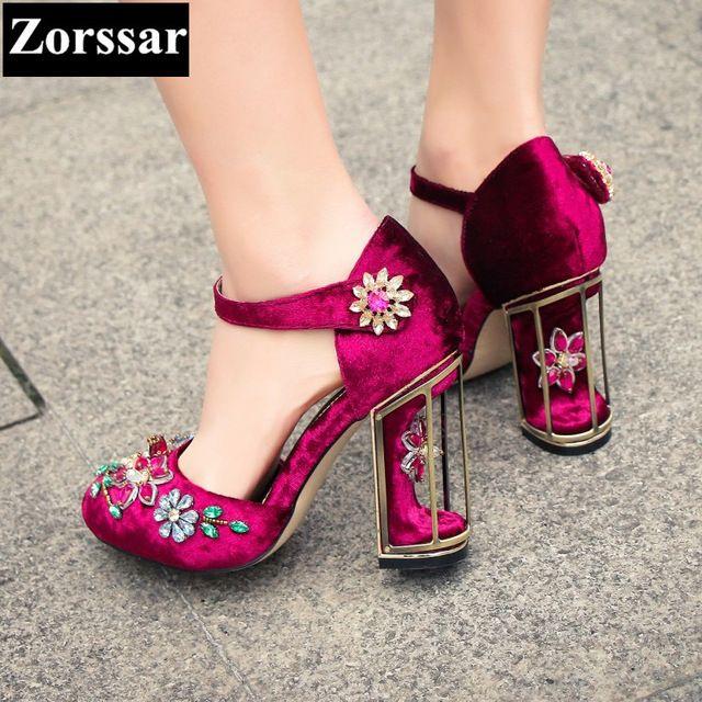 Плюс Размер 33-43 мода горный хрусталь женская обувь женщины насосы высокие каблуки сандалии фиолетовый 2017 новое прибытие женщина летняя обувь