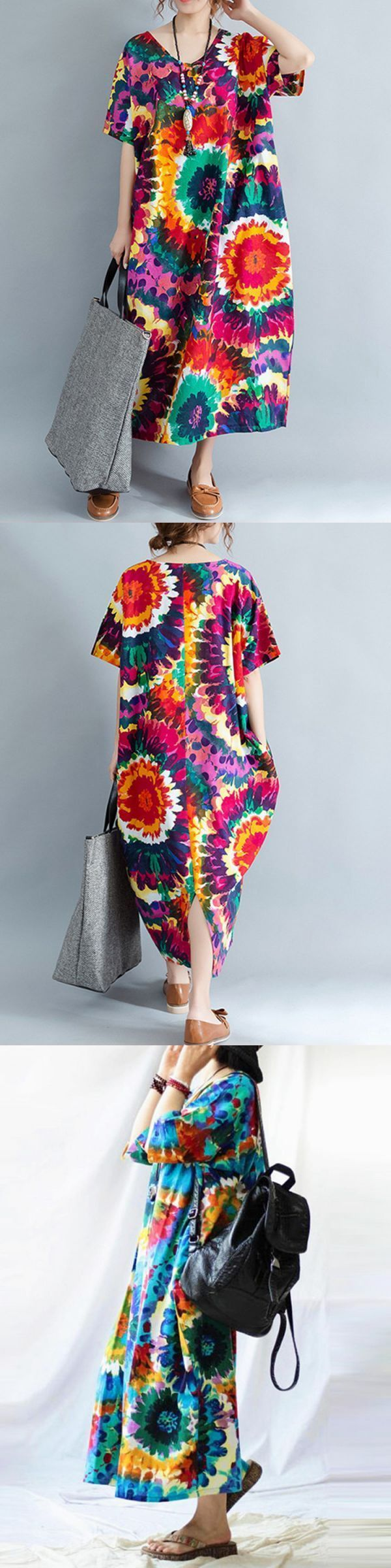 Floral printed loose v-neck short sleeve women dress floral dresses for sale #floral #dress #karen #millen #floral #dress #kate #middleton #floral #dresses #quotes #floral #vintage #dresses #uk