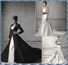 2014 halloween bruid jurken gothic black gothic Victoriaanse trouwjurken met jas zwart en witte trouwjurken(China (Mainland))