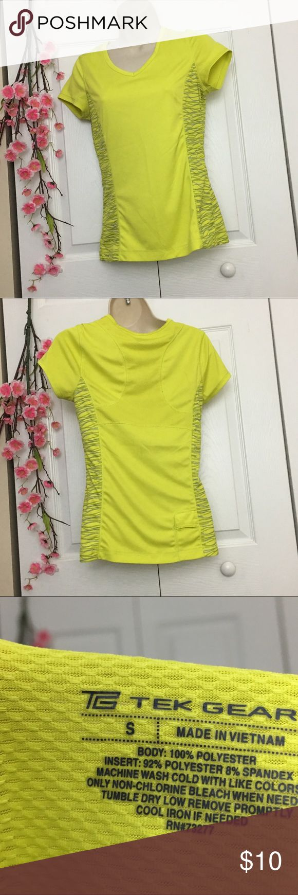 Trek Gear neon yellow short sleeve workout top Great condition. No marks or stains. Add three more items to your bundle & make an offer for 30% off the original price! Don't know how to make an offer? Just ask! tek gear Tops Tees - Short Sleeve