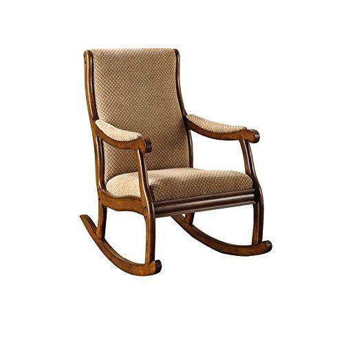 Nursery Rocking Chair Upholstered Cushion Tan Brown Wood ...