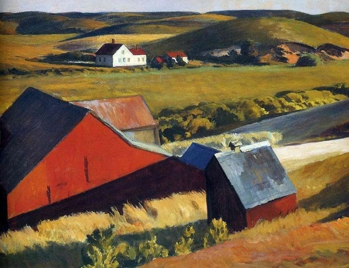 Edward Hopper (American, American Realism, 1882-1967): Cobb's Barn and Distant Houses, c. 1931.