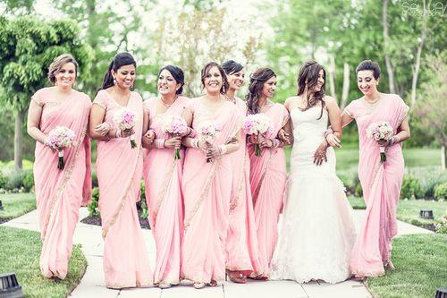 western and desi fusion wedding, bridesmaid saree, pale pink sari