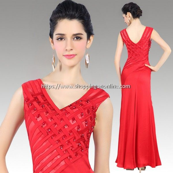 Red Evening Dress - Silk Deep V-neck $236.00 (was $295) Click here to see more details http://shoppingononline.com/red-evening-dresses/red-evening-dress-silk-deep-v-neck.html #DeepVNeck #SilkEveningDress #SilkDress #RedEveningDress #RedDress