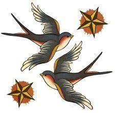 Swallow Bird Tattoo Nautical Star