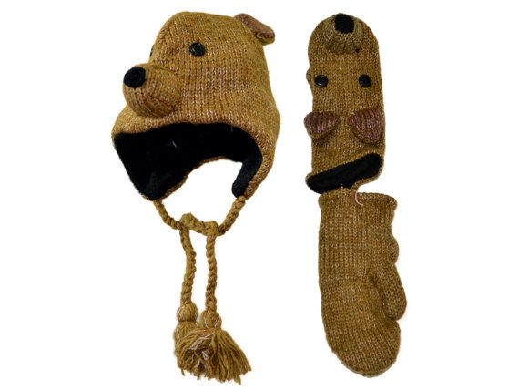 Brown bear animal knit hat with mittens set  by HatsMittensEtc