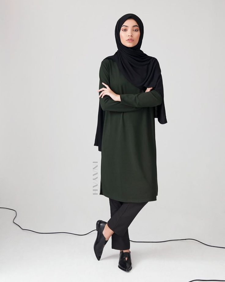 INAYAH | Contemporary silhouettes, refined with class and style; perfect for the modest working woman of today - Emerald #Jersey A Line #Midi + Black Straight Leg #Trousers + Black Rayon Blend Jersey #Hijab + Medium Nude Soft Cotton Scrunchy -  www.inayah.co