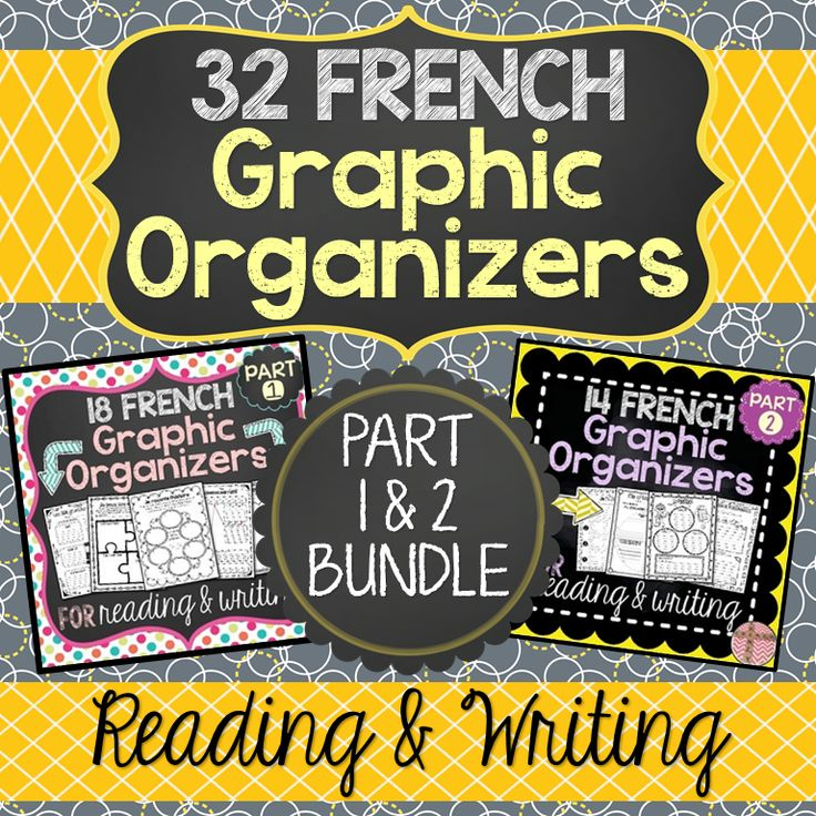SAVE 20% WITH THIS GRAPHIC ORGANIZERS BUNDLE. This bundle includes a variety of French graphic organizers (des organigrammes/organisateurs graphiques) for students to use to help them better organize their thoughts and ideas. This is ideal for students who struggle to write in paragraphs or who have writer's bloc. There is a total of 32 organizers in this package. Most graphic organizers also come in two formats.