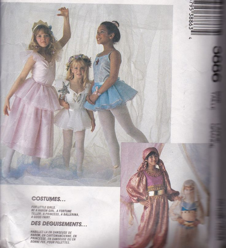 Sewing Patterns Children's Costumes McCalls 3886 Harem, Fortune Teller, Princess, Ballerina, Fairy by SuesUpcyclednVintage on…