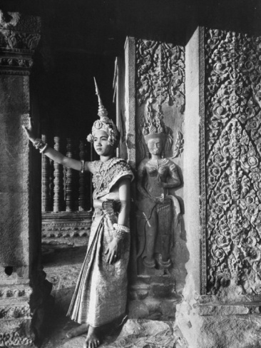 Religious Ritual Dancer in Temple of Angkor Wat, Wearing Richly Embroidered and Ornamented Costumes Premium Photographic Print by Eliot Elisofon at Art.com