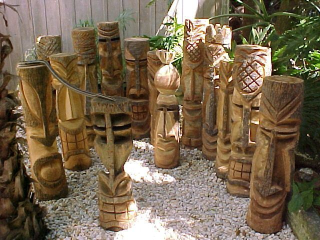 Hand Carved Florida Palm Tree Tiki Statues