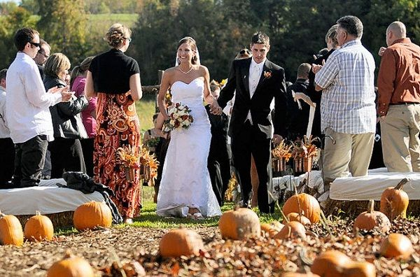 Use pumpkins to decorate your wedding aisle!