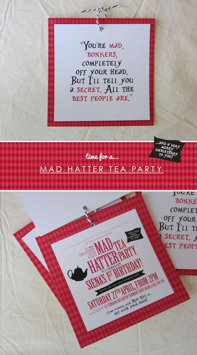 mad hatter teparty invitations pinterest%0A tea party birthday invitations via thatandso  Mad Hatters