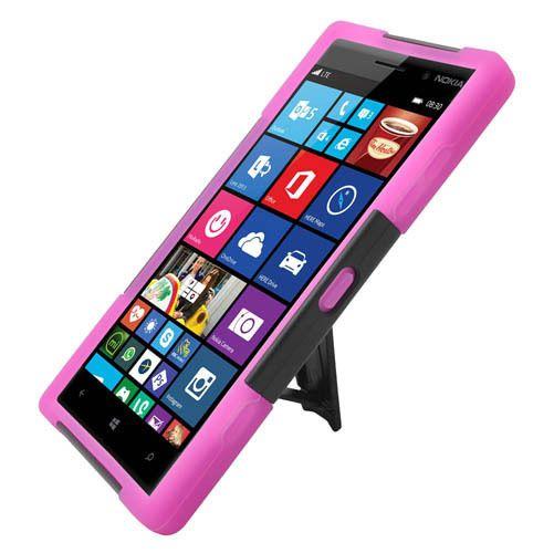 Nokia 830 Lumia Hot Pink Skin + Black PC Hybrid Case with Stand  #UnbrandedGeneric