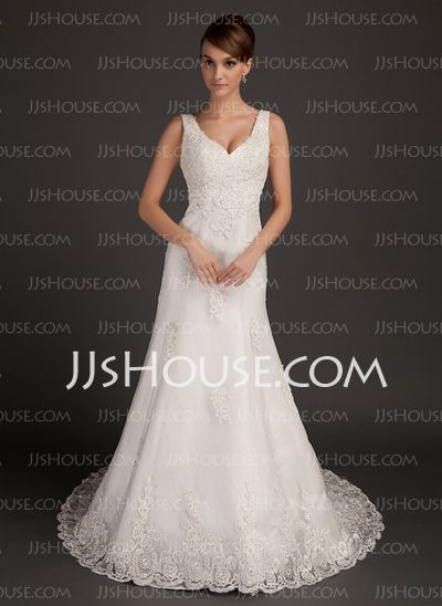 Wedding Dresses - $234.99 - A-Line/Princess V-neck Chapel Train Satin Tulle Wedding Dress With Lace Beadwork (002015557) http://jjshouse.com/A-Line-Princess-V-Neck-Chapel-Train-Satin-Tulle-Wedding-Dress-With-Lace-Beadwork-002015557-g15557