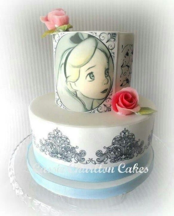 Alice in Wonderland hand painted cake