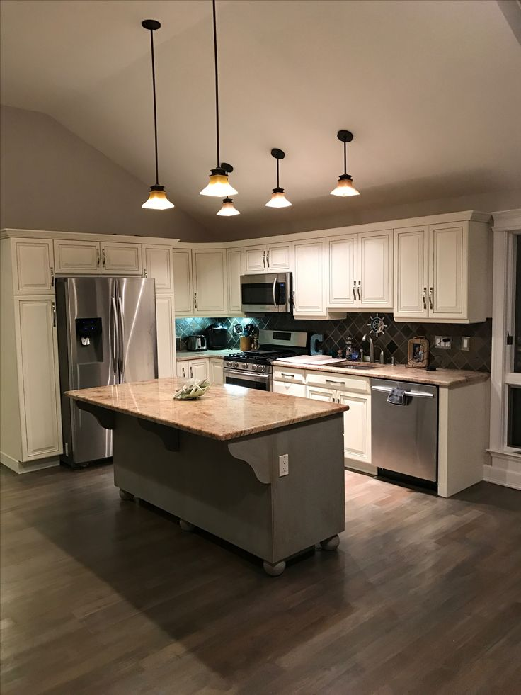 Refinished kitchen cabinets DIY. Old white and Paris grey ...