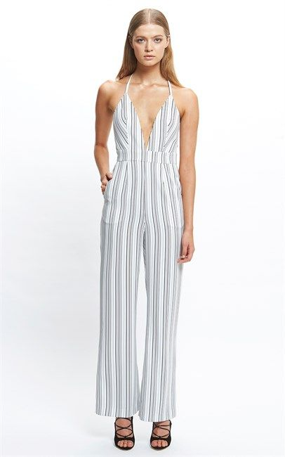 Pinstripe Ibiza Jumpsuit by Ruby Sees All now available at Ozsale. Price was $199.95 and is now $79.00.