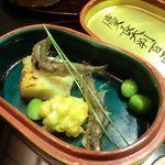 北新地 湯木 - 料理写真:焼物:銀ダラ西京焼き、稚鮎塩焼き他