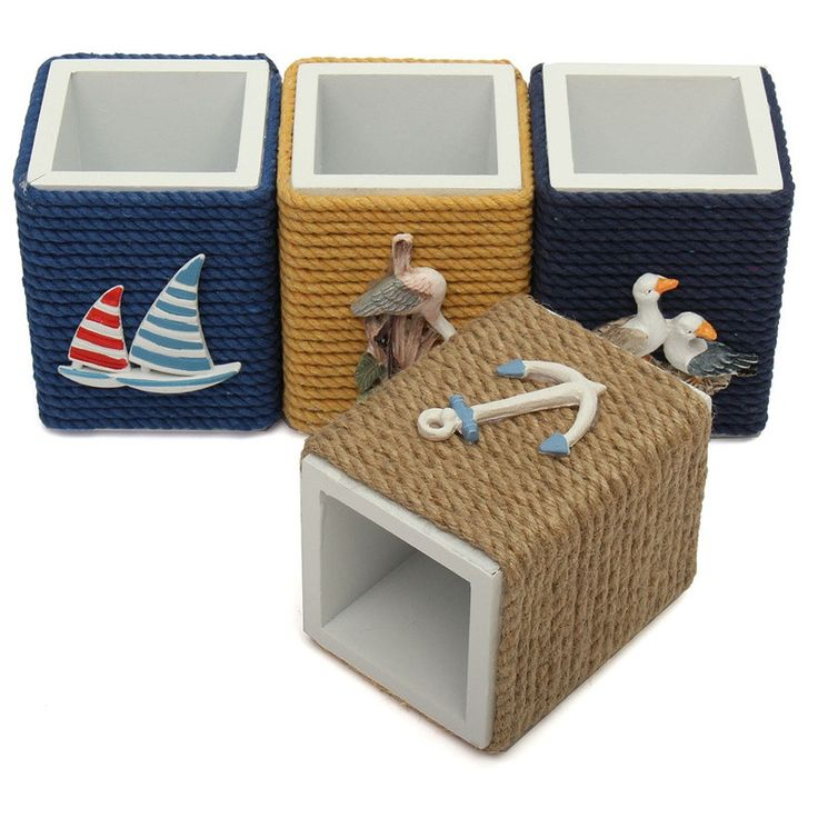New Mediterranean Style Pen Holder Pen Pot Container Multifunction Storage Box Home Office Desktop Decor Wood Crafts Gifts