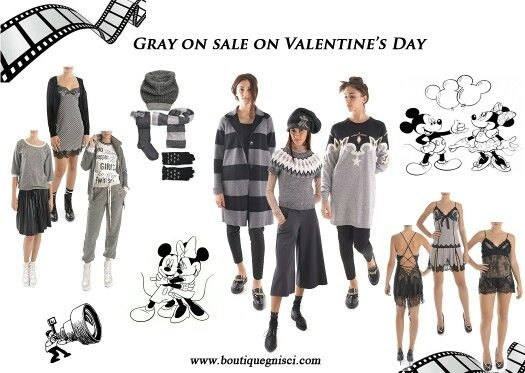 Gray on sale on Valentine's Day.. #gray #50sfumaturedigrigio #valentino #sale #topolino #fumetto #favole #outfitoftheday #greyandblack  #cpottino #righe #pantalone #carota #maglioncino #perustyle #maximaglia #stella @pinupstars #tute #ch8c #twinsetsimonabarbieri #lingerie @marjolainelingerie  saldi  www.boutiquegnisci.com