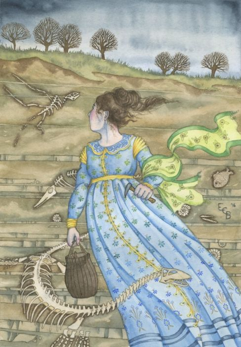 Mary Anning defied custom and convention. As a lively and curious child, she learnt about fossil hunting, collecting and dealing from her father, and by age 26 she was running the family fossil business. All her life she regularly braved danger to continue her work, excavating fossils from the unstable cliffs near Lyme Regis between one winter tide and the next. #feminism #art #illustration #watercolour #famouswomen #maryanning #dinosaur #paleontology #fossil