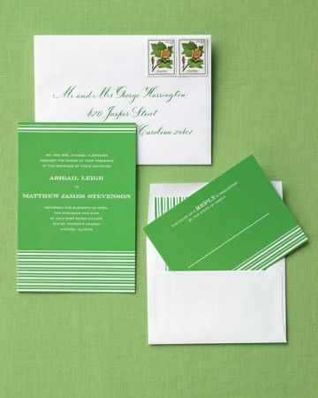 """A picket fence running alongside a hedge inspired these """"Spring Stripes"""" invites by Kerry Doyle for MintedPostage stamps, Champion Stamp Co. Calligraphy by Deborah Delaney, 212-877-8773."""