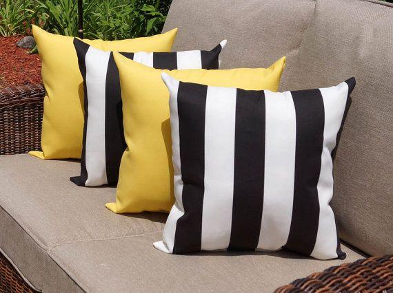 Black Outdoor Throw Pillow   Finnigan Stripe Black U0026 Sundeck Yellow Outdoor  Throw Pillow   4