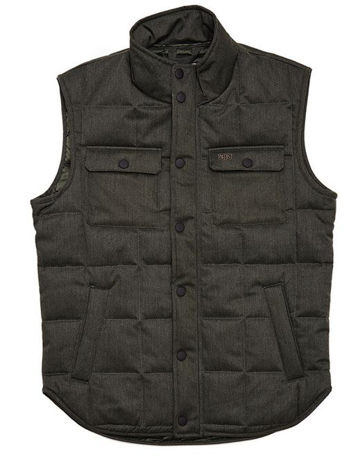Deus Ex Machina Gilet Padded Vest - Forest: Part of the Deus Ex Machina Fall 2015 collection. This regular padded vest features chest pockets, snap button hardwear and script chest embroidery.