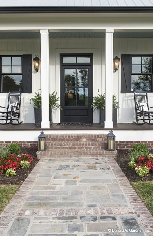 White Brick House Grey Trim