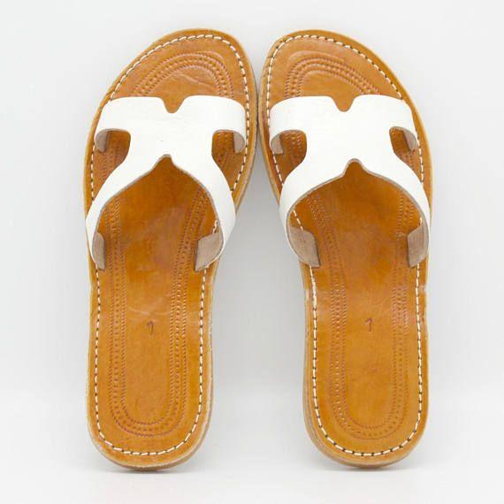 White leather slides womens, Handmade womens leather sandals , womens leather flip flops, open toe sandal, womens sandals sandales cuir