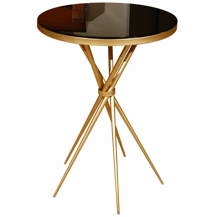Best Brass And Black Glass Hollywood Regency Side Table 1940S A 640 x 480