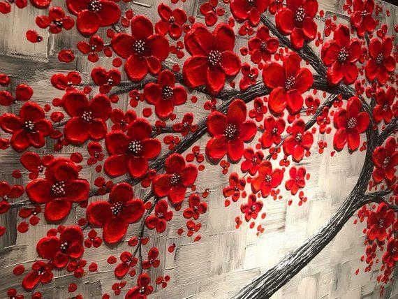 Red Cherry Blossom Tree Painting Large Impasto Abstract Art Etsy Cherry Blossom Art Red Cherry Blossom Cherry Blossom Painting