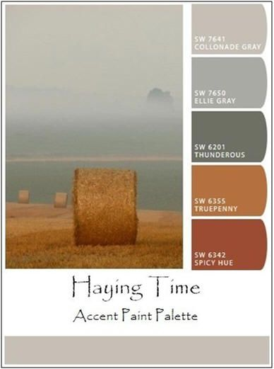 Haying Time Accent Paints - Use this color palette or click through to find a soft-tone wall, room or decorator paint color scheme to match. And, learn how easy it is to create your own custom, bold, accent, accessory, art or craft paint palettes, from your own photos or digital images with Sherwin Williams' free ChipIt! tool.