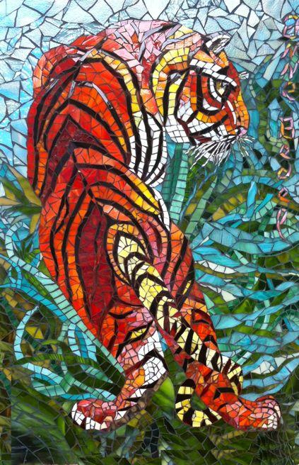 Jungle Tiger in India / Tigre dans la jungle - Mosaic by Anne Bedel