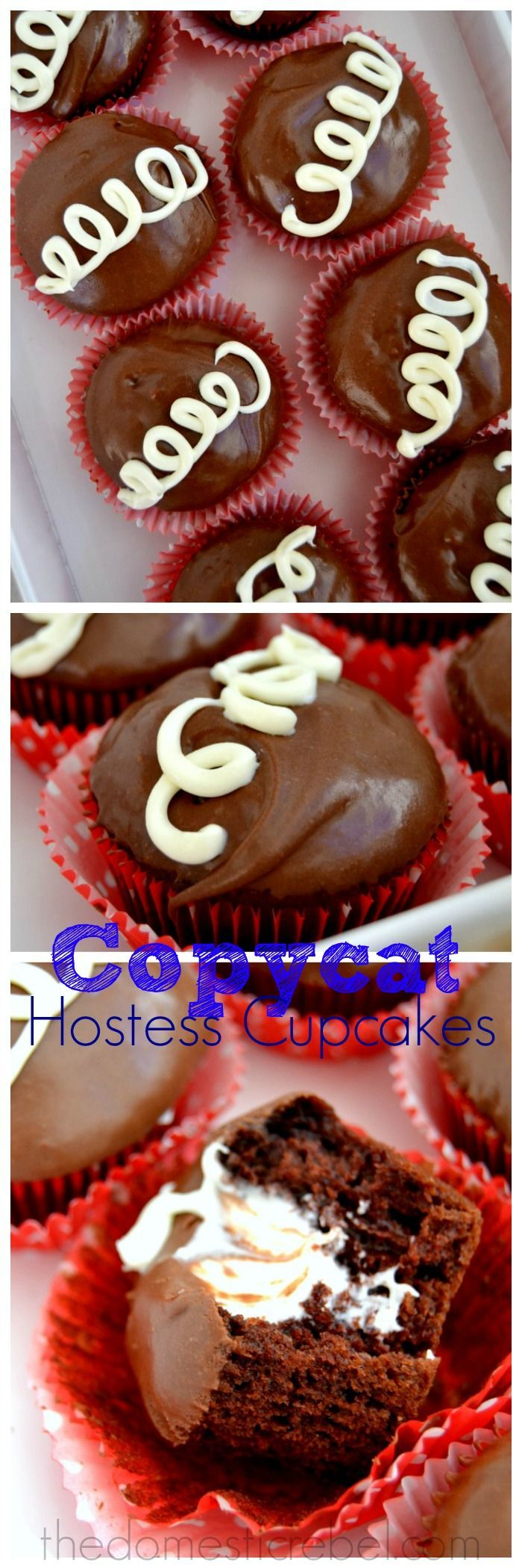 Moist, chocolaty and sweet Copycat Hostess Cupcakes taste identical to the real deal and are SO easy to make! #cupcakes #chocolate