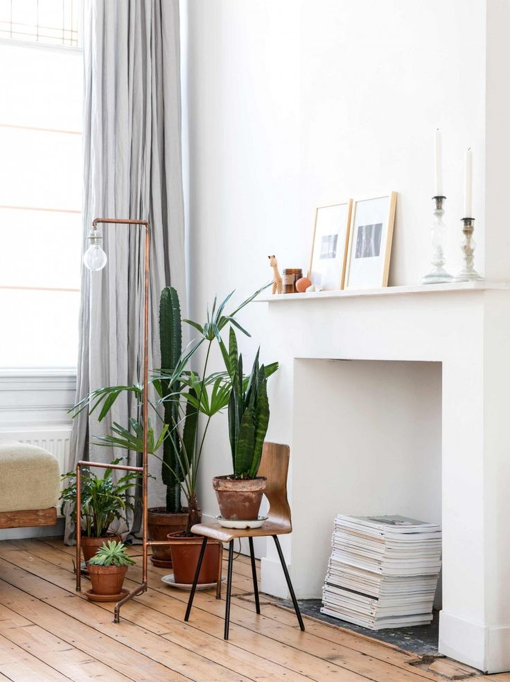 We love the idea of displaying plants on the floor in various heights, rather than simply keeping them to shelves