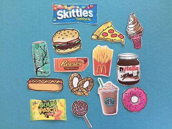 Assortment of Food Stickers Glossy tumblr stickers printed on self adhesive sticker paper then cut carefully. The pack includes 14 food