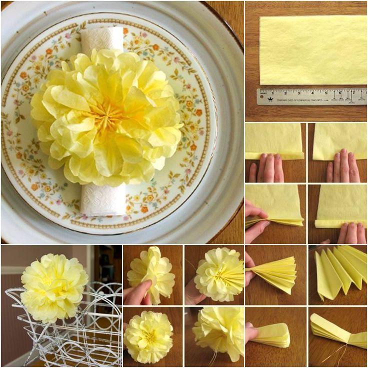 Tissue Paper Pom Pom Flowers