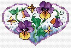 Σχέδια με πανσέδες για κέντημα / Pansy cross stitch patterns