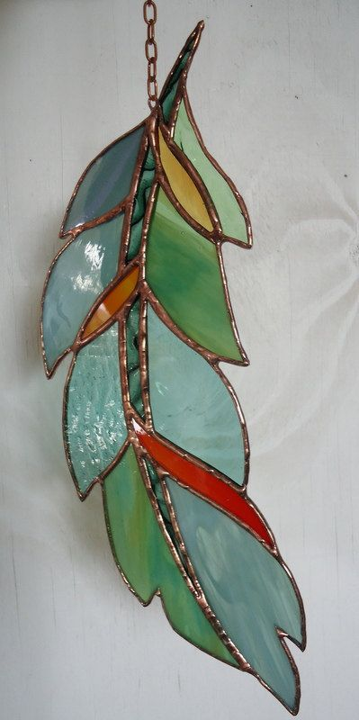 "Stained Glass Window ""GHOST DANCE FEATHER "" hand blown glass , hand poured glass, stained glass panel, sun catcher                                                                                                                                                                                 More"