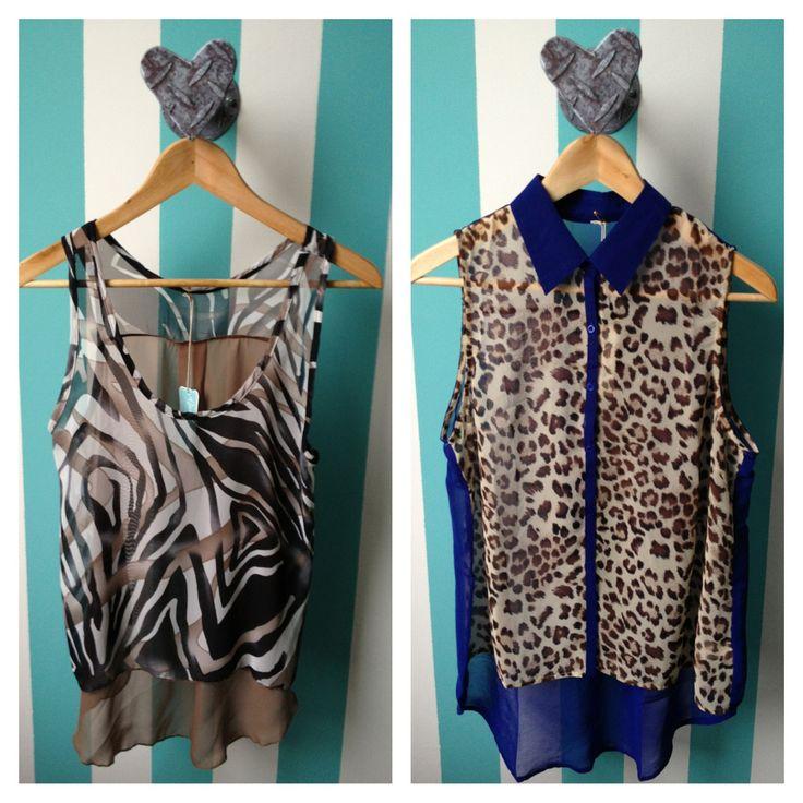 blusas chifon, estampado animal print, diseño cola de pato @cc_casavintage
