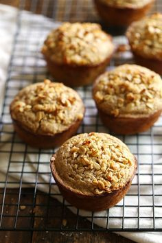 These Caramelized Banana Oat Muffins are made with whole grains and without refined sugar for a super satisfying and delicious breakfast. 280 calories.