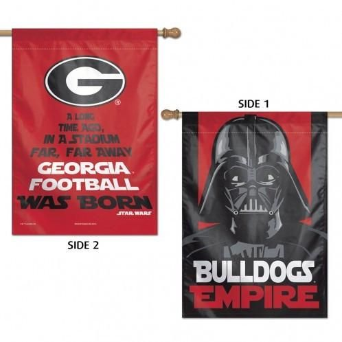 The premium two sided vertical flag is 28x40 is right reading on both sides with different flag graphics on both sides for two flags in ONE. It is soft to the touch & printed in the USA.