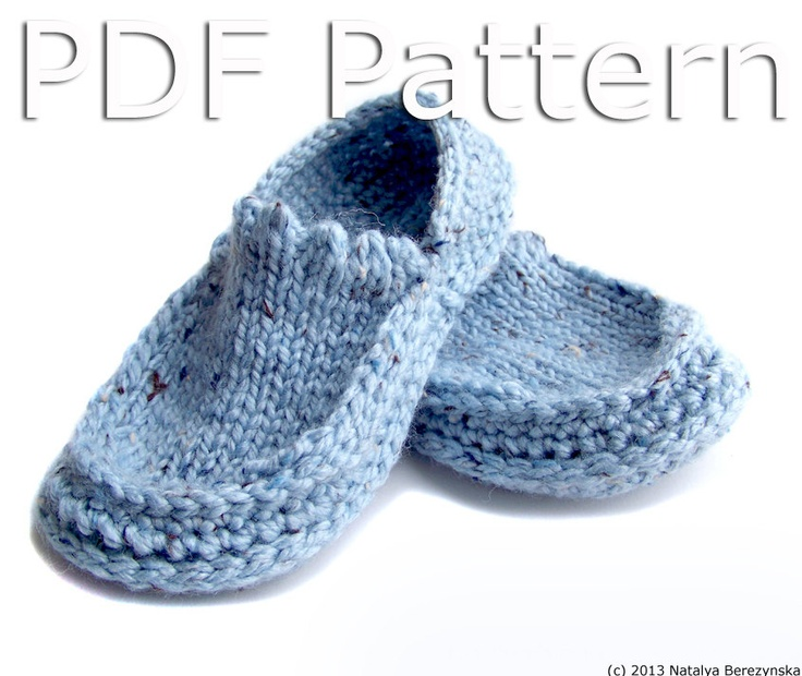 Knitting Pattern Central Men s Slippers : Slippers Pattern, Crochet PATTERN, Knitting PATTERN, Knit Crochet Slippers Pa...